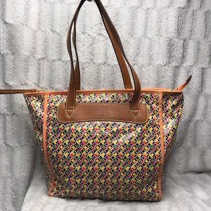 Fossil Key Per Waxed Canvas Colorful Orange Tote